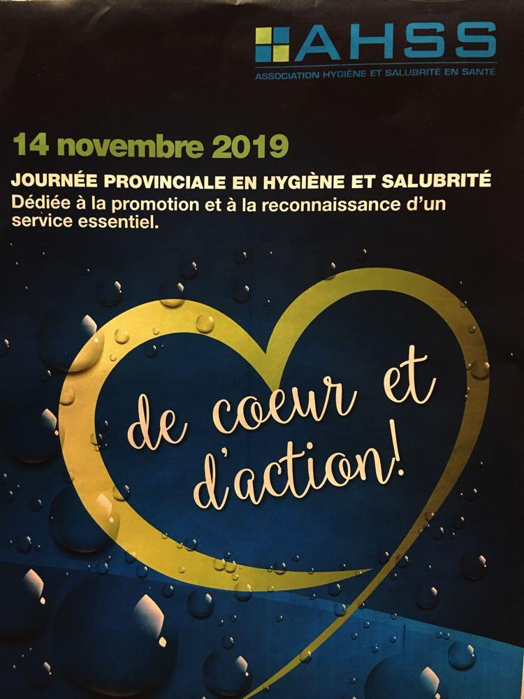 """Promotion de l'affiche 2019 sous le thème """"De coeur et d'action!"""" en reconnaissance du travail accompli par les préposés en hygiène et salubrité."""